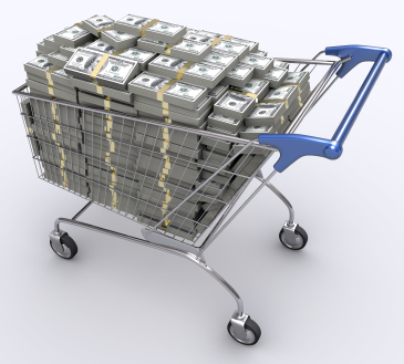 """Shopping cart full of money"""
