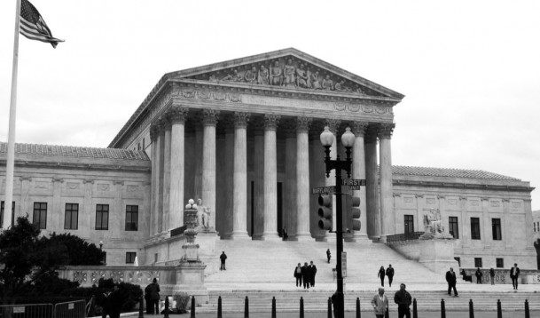 Black and white image of the Supreme Court