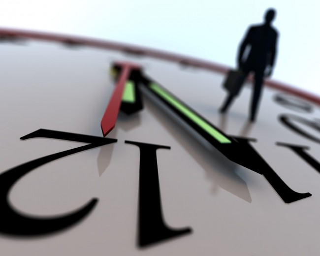 Abstract image of a business man walking on an enlarged clock